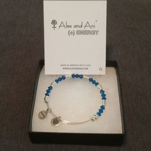 Alex & Ani Azure Glow Glass Wonder bead bracelet